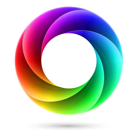 the energy center: Abstract Colorful spiral ring. Illustration on white background