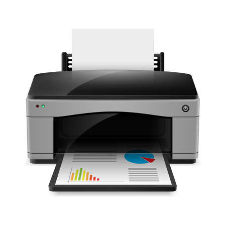 Realistic printer. Illustration on white background for design Ilustração