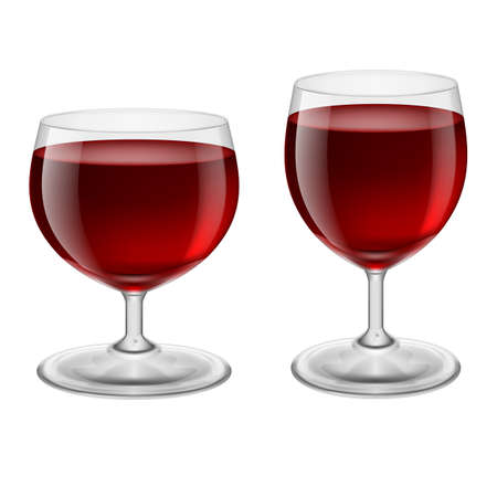 joyful: Two glasses of red wine. Illustration on white background
