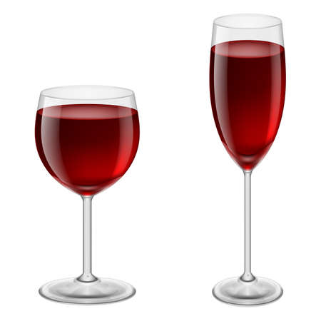felicitate: Two glasses of red wine. Illustration on white background for design
