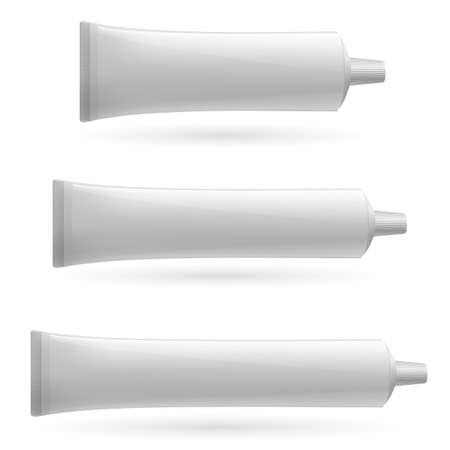 cream tube: Three white tube. Illustration on white background for design. Illustration