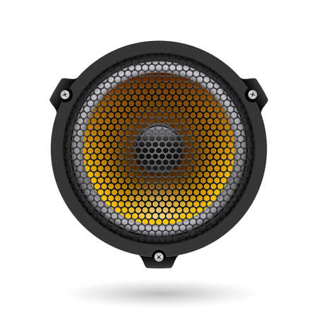 Realistic speaker. Illustration on white for design Vector