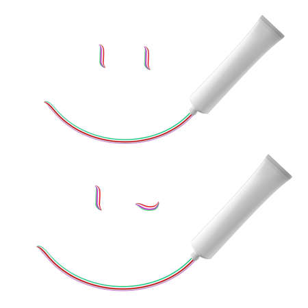 ointment: White Smile of toothpaste. Illustration on white background