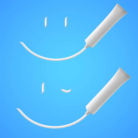 suntan lotion: White Smile of toothpaste. Illustration on blue background Illustration