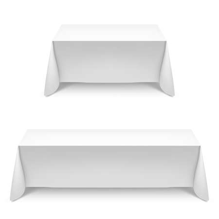 table: Two white rectangular with table tablecloth. Illustration on white