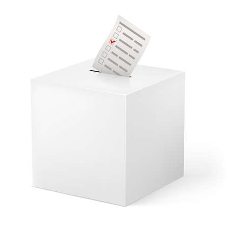 Ballot box with Ballot paper. Illustration on white background Vector