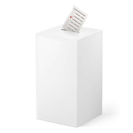 designate: Ballot box with Ballot paper. Illustration on white