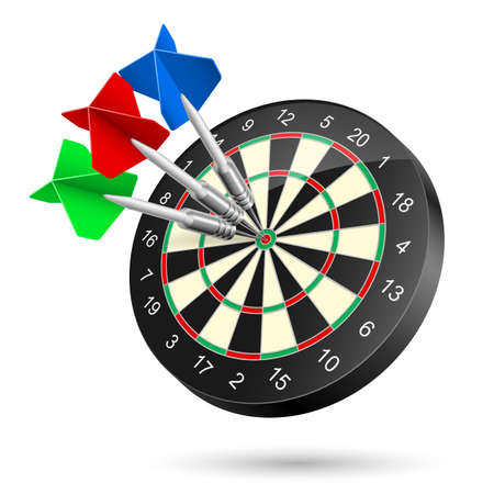 Dartboard with Darts hitting a target. Illustration on white Stock Vector - 21072120