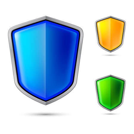 blue shield: Three abstract shield. Illustration for creative design Illustration