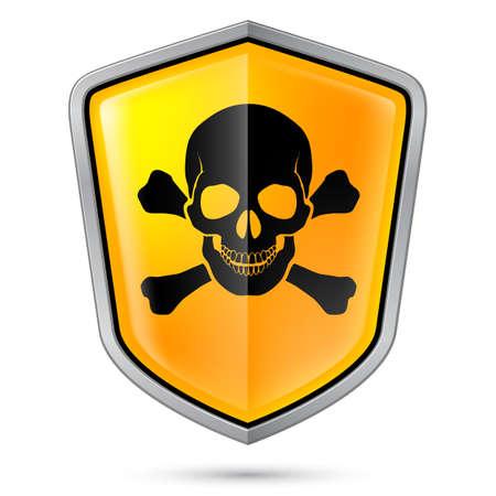 perilous: Warning sign on shield, indicating of Skull symbol. Illustration on white