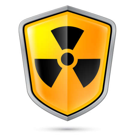 Warning sign on shield, indicating of Radiation. Illustration on white Stock Vector - 21072128