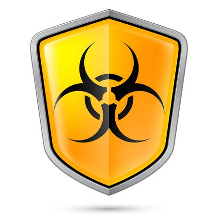 pandemia: Warning sign on shield, indicating of Biohazard. Illustration on white