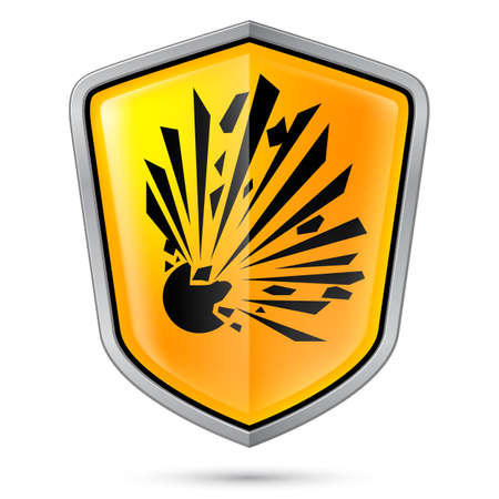 hazardous sign: Warning sign on shield, indicating Explosive Hazard. Illustration on white