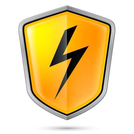electroshock: Warning sign on shield, indicating of High voltage. Illustration on white Illustration