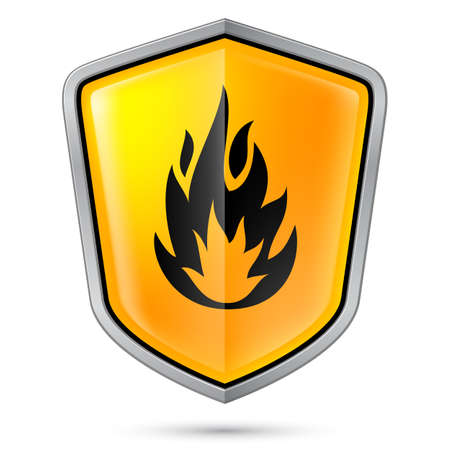 flammable warning: Warning sign on shield, indicating of flammable product  Illustration on white