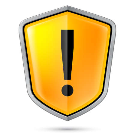 hazard damage: Warning sign icon on shield  Illustration on white Illustration