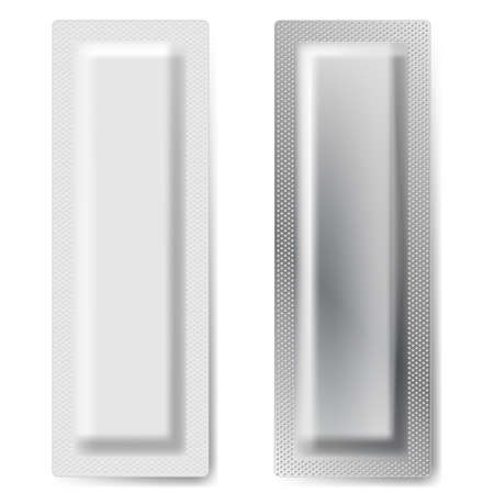 plastic wrap: Two Blank Foil Packaging Coffee, Salt, Pepper Or Spices Stick Plastic Pack Ready For Your Design  Snack Product Packing Illustration