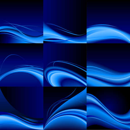 Abstract set of blue waves background  Illustration on black Vector