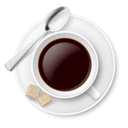 sugar spoon: Coffee with sugar  Illustration on white background Illustration
