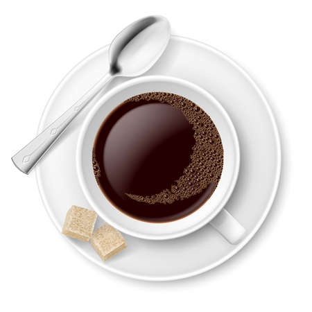 sugar cube: Coffee with sugar  Illustration on white background for design Illustration