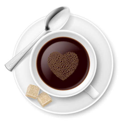 sugar cube: Coffee with sugar and spoon  Illustration on white background Illustration
