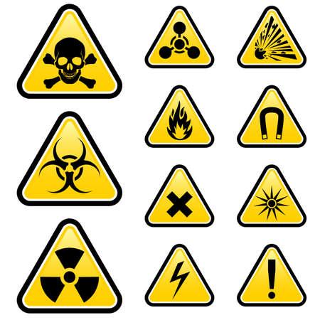 sustancias toxicas: Los signos de peligro Ilustración sobre fondo blanco para el diseño Vectores