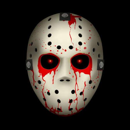 maniaco: Sanguinosa Hockey Mask Illustrazione su sfondo nero per la progettazione Vettoriali