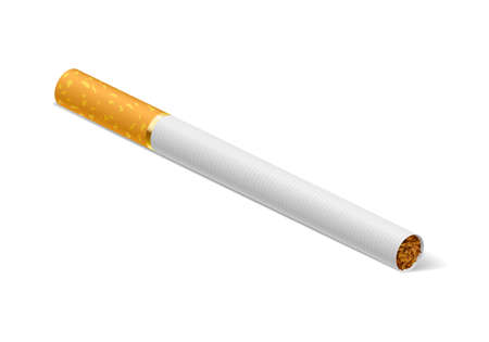 Realistic cigarette. Illustration on white background for creative design. Vector