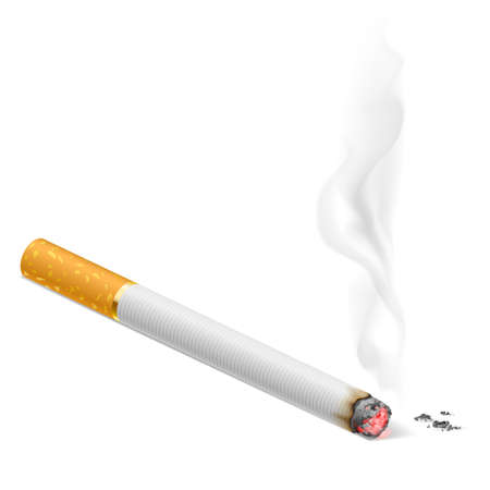 cigars: Smoking cigarette.  Illustration on white background for design. Illustration