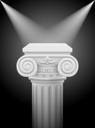 Classic ionic column with lights sources. Illustration on black Vector