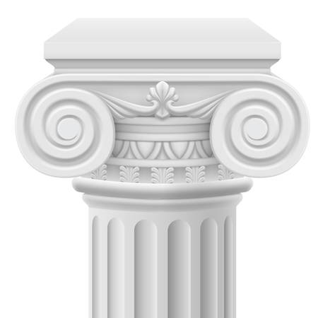 columnas romanas: Columna iónica Classic. Ilustración sobre fondo blanco