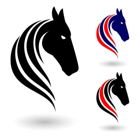 cabeza de caballo: Símbolo del caballo. Ilustración sobre fondo blanco para el diseño