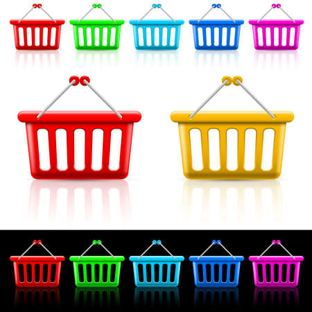 Icons with shopping baskets. Illustration on white and black Vector