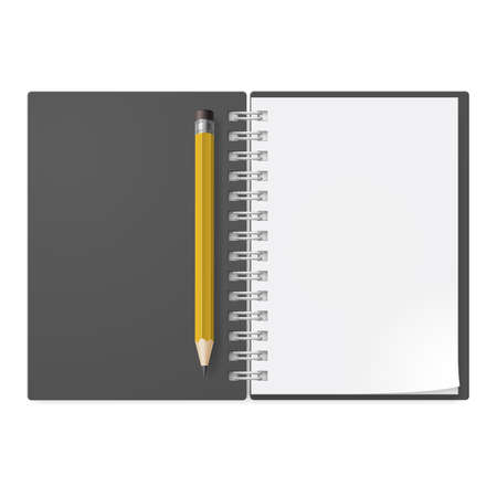 yellow notebook: Realistic notebook with yellow pencil. Illustration on white background design Illustration