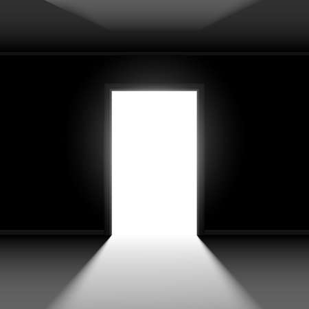 entrance: Open door with light. Illustration on dark empty background Illustration