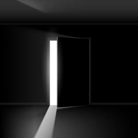 dark room: Open door with light. Illustration on empty background