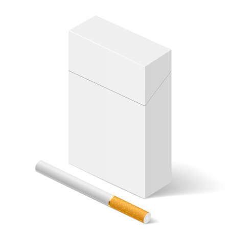 tobacco product: Closed full pack of cigarettes. Illustration on white background for design Illustration