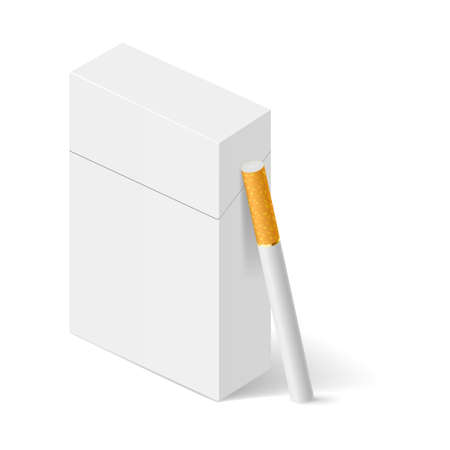 tobacco product: Closed full pack of cigarettes. Concept design. Illustration on white.