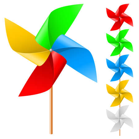 pinwheel toy: Toy windmill propeller set with multicolored blades on a white