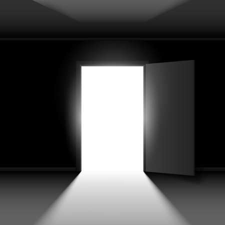 room door: Exit door with light. Illustration on dark empty background Illustration