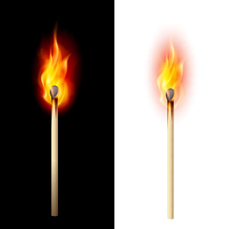 matchstick: Realistic burning match. Illustration on white and black
