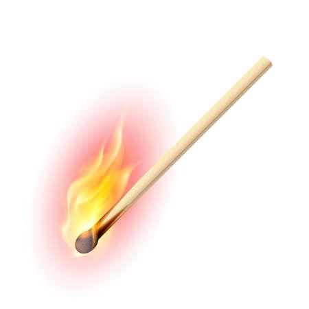 encendedores: Cerilla encendida realista. Ilustración sobre fondo blanco