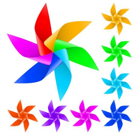 wiatrowskaz: Śmigło wiatrak zabawka z kolorowych piór na białym tle Ilustracja