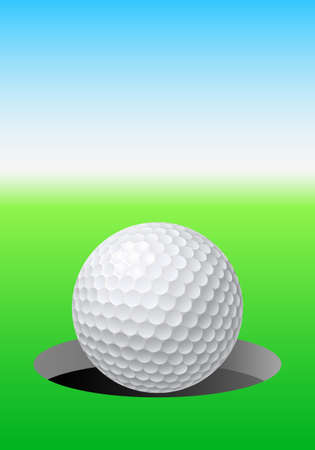 Golf ball on golf course. Illustration for design Vector