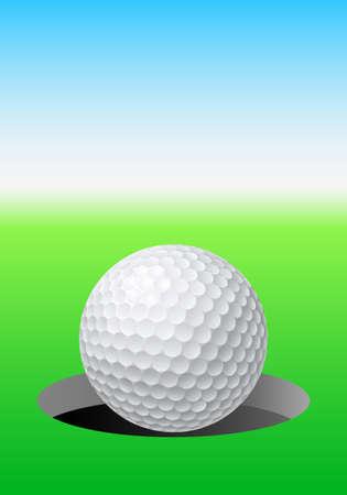 golf tee: Golf ball on golf course. Illustration for design Illustration
