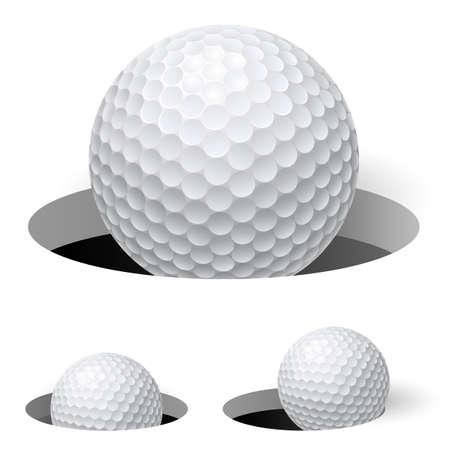 pelota caricatura: Las pelotas de golf. Ilustraci�n sobre fondo blanco para el dise�o Vectores