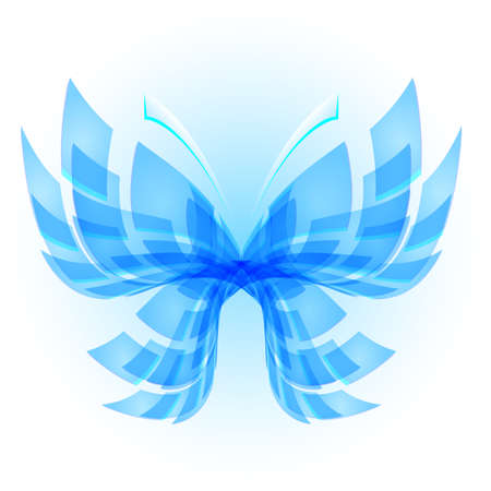 butterfly abstract: Blue Butterfly. Abstract Illustration on white background