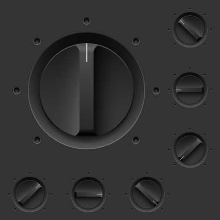 control panel: Pannello di controllo nero con interruttori. Illustrazione per il design