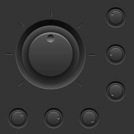 スイッチと黒コントロール パネル。インタ フェース設計のための図
