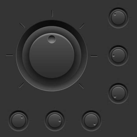 control panel: Pannello di controllo nero con interruttori. Illustrazione per il design di interfaccia Vettoriali